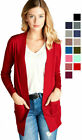 Womens Cardigan Long Sleeve Open Front Draped Sweater Rib Banded w Pockets