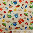 BonEful Fabric FQ Cotton Quilt Brown White Red Blue Beach House Baby Boy Toy Dot