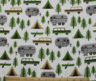 SNUGGLE FLANNEL CAMPER  CAMPING on WHITE100 Cotton Fabric NEW BTY