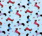 SNUGGLE FLANNEL DACHSHUND DOGS IN SWEATERS on LT BLUE Cotton Fabric NEW BTY