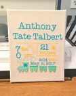 New Baby Emboidered Birth Announcement Great Gift Idea Handcrafted New