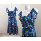 Vintage 70s Dress Size M 7 Blue Confetti Atomic Disco Flutter Sleeve Tea Frock