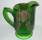 Beautiful Unmarked Green Depression Glass Pitcher w Yellow Cob of Corn on Side