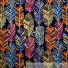 BonEful Fabric FQ Cotton Quilt Blue Orange Yellow Rainbow Indian Print Feather L