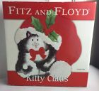 Fitz and Floyd Kitty Claus Ceramic Canape Plate Holiday Kitten Cat Decor