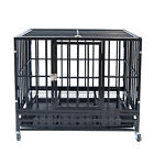 37 Heavy Duty Pet Dog Cage Strong Metal Crate Kennel Playpen w Wheels