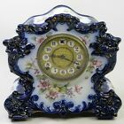 BEAUTIFUL ANTIQUE VICTORIAN GILBERT 244 FLOW BLUE PORCELAIN MANTEL CLOCK