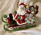 Fitz and Floyd Mingle Jingle & Be Merry Cute SANTA CLAUS Music Box Sleigh Green