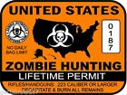 United States Zombie Hunting Permit sticker outbreak response team decal ORANGE