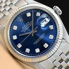 MENS ROLEX BLUE DIAMOND DIAL DATEJUST OYSTER PERPETUAL 18K WHITE GOLD/SS WATCH