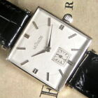 Mens 1950s Jaeger LeCoultre 14K SOLID White GOLD K480 Vintage Square Swiss Watch