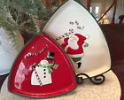 "Fitz & Floyd Triangular Shaped  Plates, Merry Christmas""  Essentials, brand new"