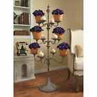 Distressed Metal Pillar Candle Stand Display Sculpture Plant Flower Holder