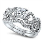 White CZ Heart Love Wedding Set Ring New 925 Sterling Silver Band Sizes 5 10