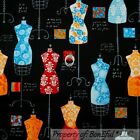 BonEful FABRIC FQ Cotton Quilt Black Design*er Dress Up Form Lady America*n Girl