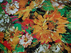Silky fabric Flowers Daisy Yellow Gold Red Green Brown 2 yds+20 x 43 wide