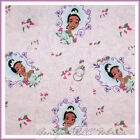 BonEful Fabric FQ Cotton Quilt VTG Pink Purple Disney Princess Frog Flower Tiana