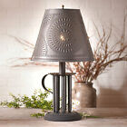 Country new aged blacken tin Candlemold lamp w /punch tin chisel shade