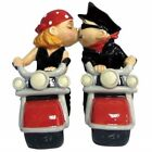 Biker Couple Kissing on Motorcycles Ceramic Salt and Pepper Shakers Set UNUSED