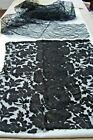 ANTIQUE VICTORIAN EDWARDIAN BLACK CHANTILLY LACE FABRIC SCRAPS  doll clothes tr