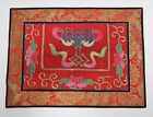 ANTIQUE ORIENTAL Silk Tapestry Bright Red Pink Lotus Flower 15x11