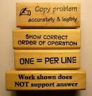 Teachers Math Set of 4 wood mounted rubber stamps