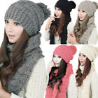 Womens Girls Winter Knitted Scarf and Hat Set Warm Knitting Thicken Skull Cap US