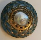 ANTIQUE EDWARDIAN VICTORIAN BRASS BLISTER PEARL ENAMEL BUTTON BIG 1.25 ROUND