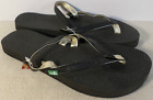 SANUK SWS3009 BLK WOMENS size 5 YOGA GOSSIP BLACK GOLD FLIP FLOP SANDALS NEW
