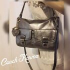 COACH POPPY HIPPIE 18996 Shimmer Metallic Silver Leather Shoulder Bag