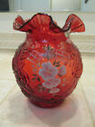 Vintage Fenton Art Glass Ruby Red Ruffled Vase Rose Mold Hand Painted Flowers