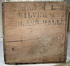 VINTAGE WOODEN SHIPPING CRATE BOX SILVER GLASS BALLS FOR LIGHTING ROD PRIMITIVE