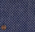Antique 1910 Navy Blue with White Polka Dots Voile Fabric