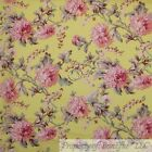 BonEful Fabric FQ Cotton Quilt VTG Yellow Pink Green Leaf Antique Flower Print L