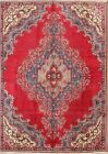 Antique Geometric Evenly Worn 8x11 Tabriz Persian Oriental Area Rug 10' 6 x 7' 6