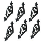 6 pcs Antique Style Cast Iron Brackets Garden Braces Rustic Shelf Bracket Black