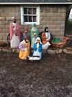 Empire Blowmold Life Sized Nativity Huge 10pc Set Wiseman Jesus Camel Mary Sheep