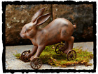 Primitive` Country Reproduction `Bunny Rabbit Pull Toy` Spring Easter