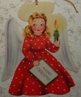 Dbl Sided Christmas Angel in Red 1940s Vintage Greeting Card
