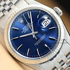 ROLEX MENS BLUE DIAL DATEJUST OYSTER PERPETUAL 18K WHITE GOLD & STEEL WATCH