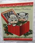 UNUSED Kittens Cats in Box 40s 50s Vtg Christmas Greeting Card w env