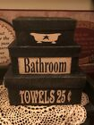 PRIMITIVE DECOR  Nesting Boxes Bathroom  Boxes  Distressed set 3