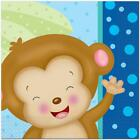 Baby Boy Monkey Lunch Napkins 16 Per Package Baby Shower and Party Supplies