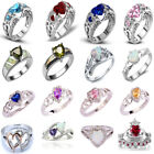 Women 925 Sterling Silver Heart Love Sapphire Moonstone Gemstone Rings Jewelry