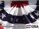 Heavy Duty Double Sided 3x6 FT Half Fan US American Flag Bunting Made in USA