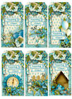 SET OF 12 AMAZING GRACE FLORAL SCRAPBOOK CARD EMBELLISHMENTS HANG GIFT TAGS