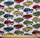 SNUGGLE FLANNEL CLASSIC VINTAGE CARS on WHITE 100 Cotton Fabric NEW 1 Yd