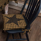 PRIMITIVE DECOR ~Black Star Chair Pad 15x15~ COUNTRY ~ FARMHOUSE