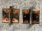 Vintage pair of ball tipped hinges steel w/ copper flash finish 2-9/16x3-1/8