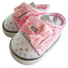 Doll Clothes fits 18 American Girl Pink Heart Bling Silver Sneakers Shoes